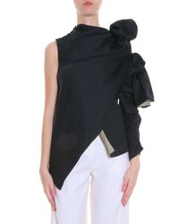 Awake - Black One Shoulder Canvas Top - Lyst