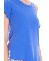 LNA - Blue Cut-out Shoulder T-shirt - Lyst