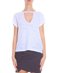 LNA - White Cut-out Neck T-shirt - Lyst