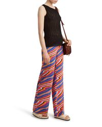 Missoni - Red Stripe Silk Trousers - Lyst