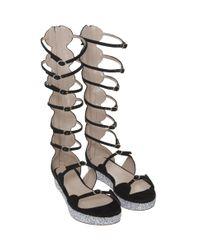 Giambattista Valli - Black Glitter Platform Sandal - Lyst