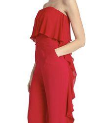 Elie Saab - Red Ruffled Jumpsuit - Lyst