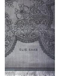 Elie Saab - Gray Silk Jacquard Scarf - Lyst