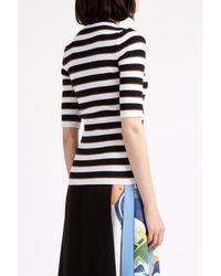MSGM - Black Short Sleeve Stripe Jumper - Lyst