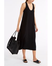 Helmut Lang - Black Scoop Neck Midi Dress - Lyst