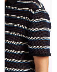 MSGM - Blue Stripe Polo Top - Lyst