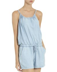 Splendid - Blue Chambray Romper - Lyst