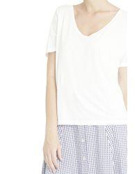Splendid - Black V-neck T-shirt - Lyst