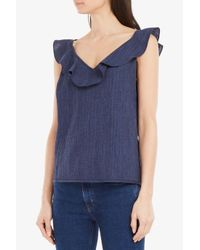 M.i.h Jeans - Blue Veeba Ruffled Top - Lyst