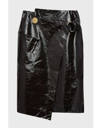 Petar Petrov - Black Ruth Patent-leather Wrap Skirt - Lyst