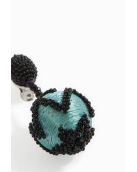 Oscar de la Renta - Multicolor Chevron Ball Earrings - Lyst