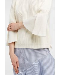 Paul & Joe Blue Colombus Fluted Ribbed Cotton Jumper