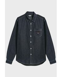 KENZO - Blue Tiger Crest Denim Shirt for Men - Lyst