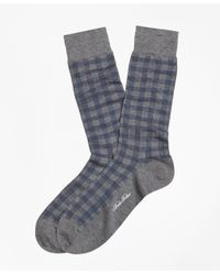 Brooks Brothers | Gray Spiral Grid Crew Socks for Men | Lyst