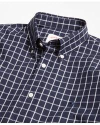 Brooks Brothers | Blue Windowpane Broadcloth Sport Shirt for Men | Lyst