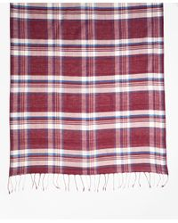 Brooks Brothers - Red Plaid Cotton Scarf for Men - Lyst