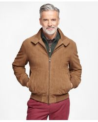 Brooks Brothers - Brown Suede Barracuda Jacket - Lyst