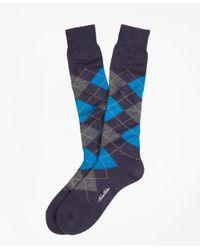 Brooks Brothers - Blue Argyle Over-the-calf Socks for Men - Lyst