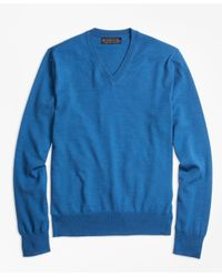 Brooks Brothers - Blue Brookstech Merino Wool V-neck Sweater for Men - Lyst