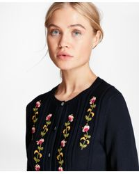 Brooks Brothers - Blue Floral-embroidered Cotton Cardigan - Lyst