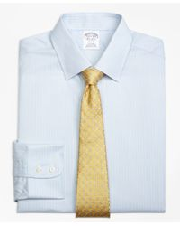 Brooks Brothers Gray Regent Fitted Dress Shirt, Non-iron Hairline Stripe for men
