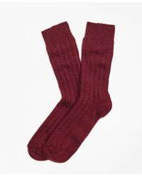 Brooks Brothers | Red Ribbed Cashmere Dress Socks for Men | Lyst