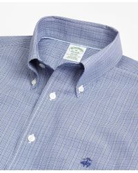 Brooks Brothers - Blue Non-iron Milano Fit Mini Plaid Sport Shirt for Men - Lyst