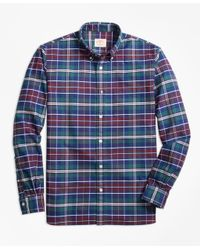 Brooks Brothers - Blue Yarn-dyed Plaid Oxford Sport Shirt for Men - Lyst