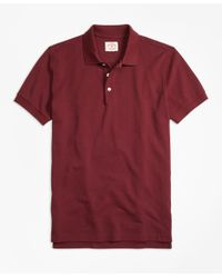 Brooks Brothers - Red Solid Pique Polo Shirt for Men - Lyst