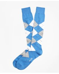 Brooks Brothers - Blue Cotton Argyle Over-the-calf Socks for Men - Lyst