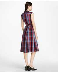 Brooks Brothers - Red Plaid Cotton Shirtdress - Lyst