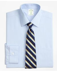Brooks Brothers - Blue Stretch Milano Slim-fit Dress Shirt, Non-iron Hairline Stripe for Men - Lyst