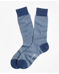 Brooks Brothers - Blue Houndstooth Crew Socks for Men - Lyst