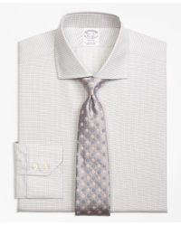 Brooks Brothers Natural Regent Fit Sidewheeler Check Dress Shirt for men