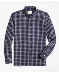 Brooks Brothers - Blue Windowpane Broadcloth Sport Shirt for Men - Lyst