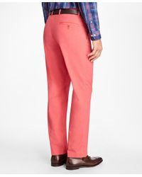 Brooks Brothers - Red Clark Fit Supima® Cotton Poplin Pants for Men - Lyst