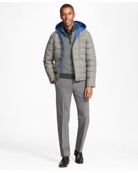 Brooks Brothers | Gray Plaid Water Repellent Wool Short Puffer Coat for Men | Lyst