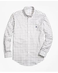 Brooks Brothers - Gray Non-iron Regent Fit Gingham Sport Shirt for Men - Lyst
