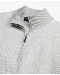 Brooks Brothers - Gray Honeycomb Pique Half-zip for Men - Lyst