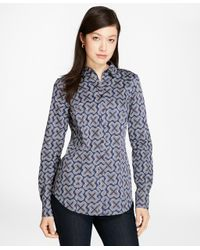 Brooks Brothers - Blue Geometric-print Tailored-fit Shirt - Lyst