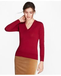 Brooks Brothers - Red Saxxon Wool V-neck Sweater - Lyst