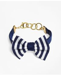 Brooks Brothers - Blue Kiel James Patrick Navy And White Stripe Bow Tie Bracelet - Lyst