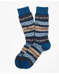 Brooks Brothers - Blue Cashmere Fair Isle Crew Socks for Men - Lyst