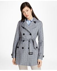 Brooks Brothers - Blue Plaid Stretch Cotton Trench Jacket - Lyst