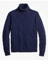 Brooks Brothers - Blue Merino Wool Cable Turtleneck Sweater for Men - Lyst