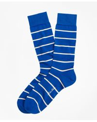 Brooks Brothers | Blue Two-color Stripe Crew Socks for Men | Lyst