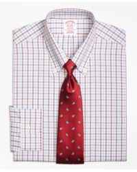 Brooks Brothers | Red Non-iron Madison Fit Hairline Framed Check Dress Shirt for Men | Lyst
