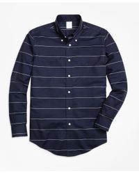Brooks Brothers | Blue Non-iron Regent Fit Horizontal Stripe Sport Shirt for Men | Lyst