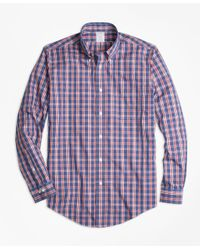Brooks Brothers | Blue Non-iron Regent Fit Check Sport Shirt for Men | Lyst