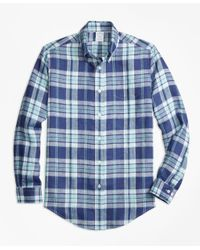 Brooks Brothers | Regent Fit Blue Plaid Irish Linen Sport Shirt for Men | Lyst